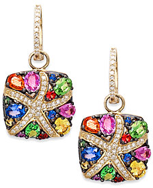 Watercolors by EFFY Multicolor Sapphire (3-1/3 ct. t.w.) and Diamond (1/4 ct. t.w.) Starfish Earrings in 14k Gold, Created for Macy's