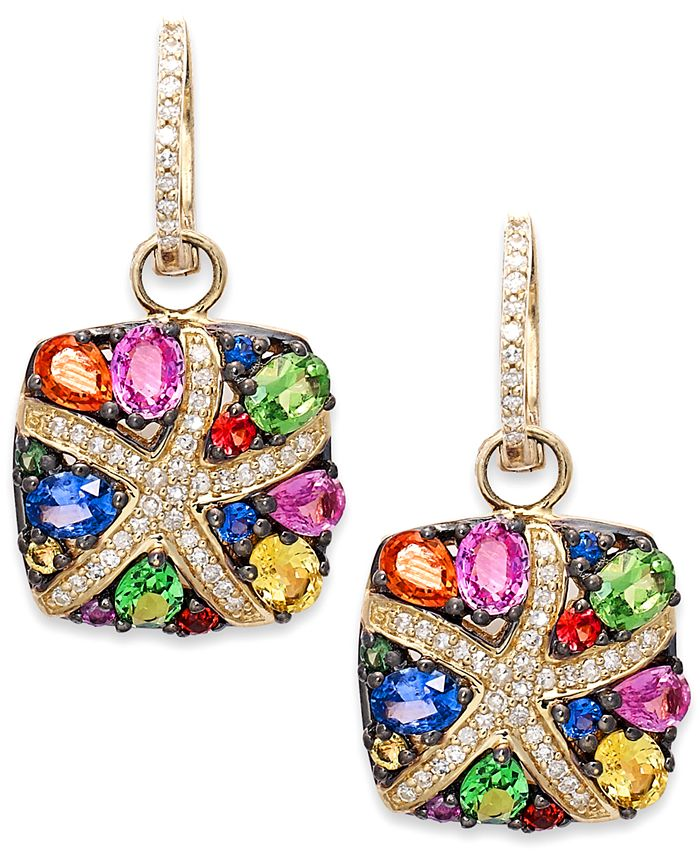 EFFY Collection - Multicolor Sapphire (3-1/3 ct. t.w.) and Diamond (1/4 ct. t.w.) Starfish Earrings in 14k Gold