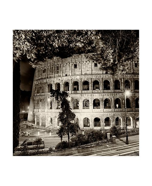 "Trademark Global Philippe Hugonnard Dolce Vita Rome 3 Colosseum at Night III Canvas Art - 19.5"" x 26"""