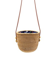 La Regale Weekend Rattan Drawstring Basket Crossbody