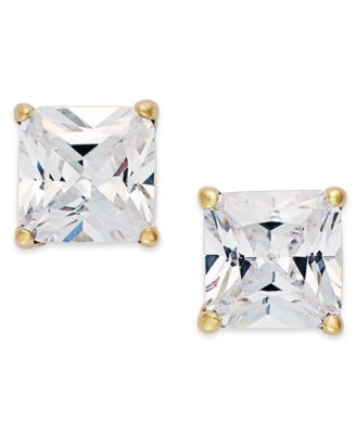 Image of Giani Bernini 18k Gold over Sterling Silver Earrings, Cubic Zirconia Square Stud Earrings (2 ct. t.w