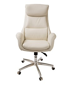 Mid-Century Modern Bonded Leather Gaslift Adjustable Swivel Office Chair