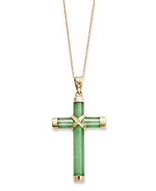 Jade Cross Pendant Necklace in 10k Gold (20 ct. t.w.)