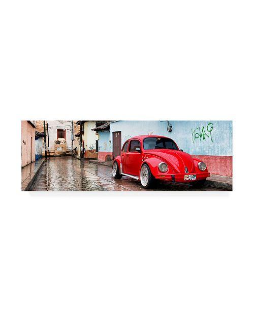 "Trademark Global Philippe Hugonnard Viva Mexico 2 Red VW Beetle Car in San Cristobal de Las Casas II Canvas Art - 27"" x 33.5"""