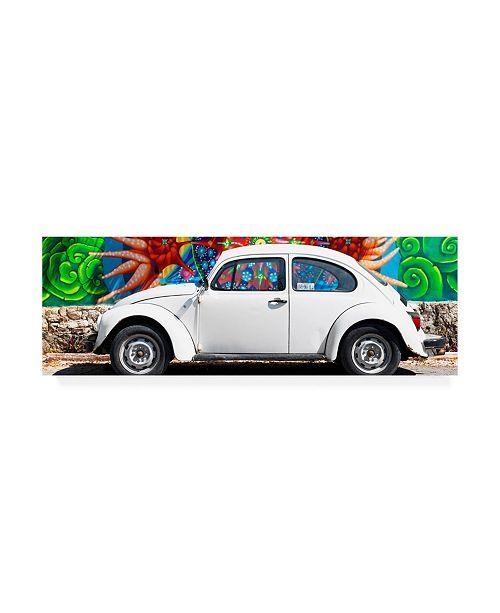 "Trademark Global Philippe Hugonnard Viva Mexico 2 White VW Beetle Car in Cancun Canvas Art - 27"" x 33.5"""