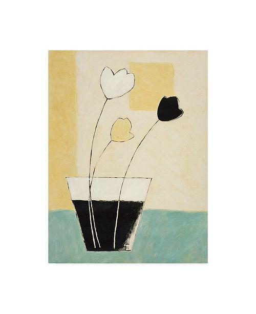 "Trademark Global Pablo Esteban Three Flowers in Black and White Vase Canvas Art - 36.5"" x 48"""