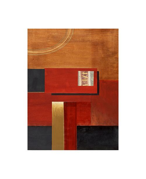 "Trademark Global Pablo Esteban Red Squares with Orange Canvas Art - 15.5"" x 21"""