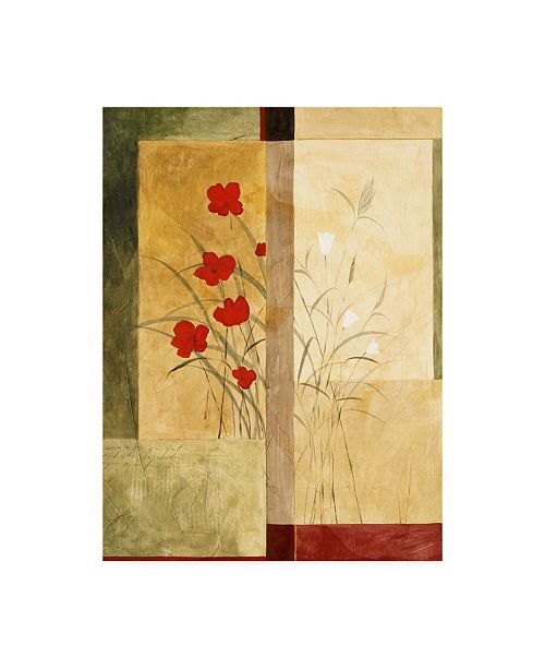 """Trademark Global Pablo Esteban Red and White Flowers Squared Canvas Art - 36.5"""" x 48"""""""