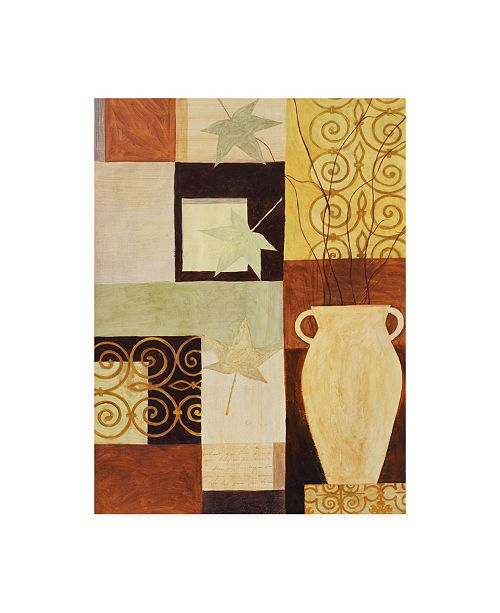 "Trademark Global Pablo Esteban Leaves and Vase on Squares Canvas Art - 19.5"" x 26"""