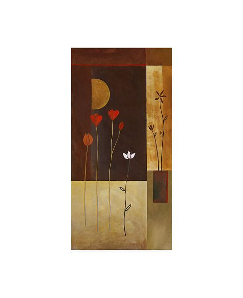 "Trademark Global Pablo Esteban Flowers with Half Moon Canvas Art - 27"" x 33.5"""