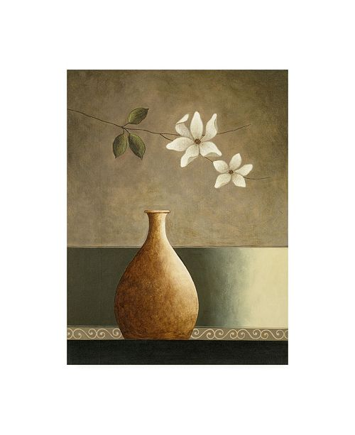 "Trademark Global Pablo Esteban Flowers Over a Tan Vase Canvas Art - 19.5"" x 26"""