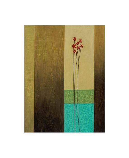 "Trademark Global Pablo Esteban Red Flowers Striped Background Canvas Art - 27"" x 33.5"""
