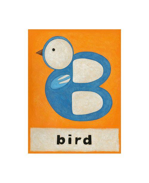 "Trademark Global Chariklia Zarris B is for Bird Childrens Art Canvas Art - 27"" x 33.5"""