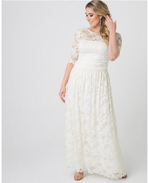 Womens Plus Size Lace Illusion Wedding Gown