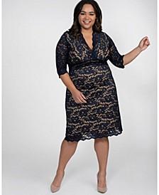 Women's Plus Size Scalloped Boudoir Lace Dress