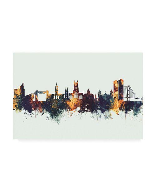 "Trademark Global Michael Tompsett Kingston upon Hull England Skyline IV Canvas Art - 36.5"" x 48"""