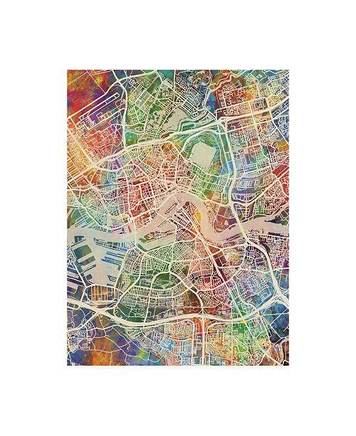 """Trademark Global Michael Tompsett Rotterdam Netherlands City Map Canvas Art - 19.5"""" x 26"""""""