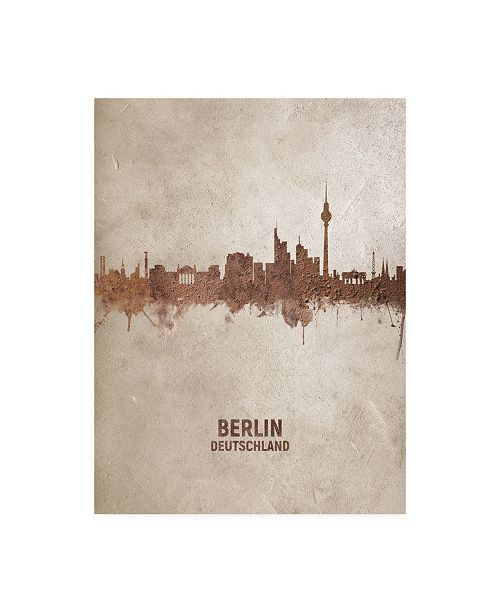 "Trademark Global Michael Tompsett Berlin Germany Rust Skyline Canvas Art - 19.5"" x 26"""