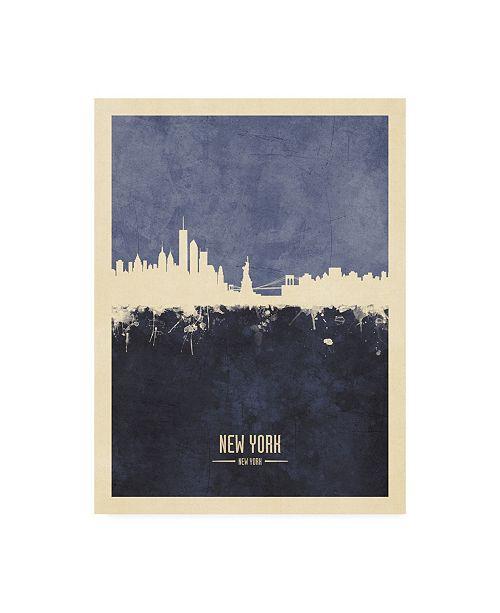 "Trademark Global Michael Tompsett New York Skyline Navy Poster Canvas Art - 19.5"" x 26"""