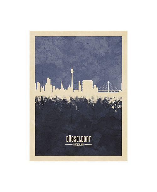 "Trademark Global Michael Tompsett Dusseldorf Germany Skyline Navy Canvas Art - 36.5"" x 48"""