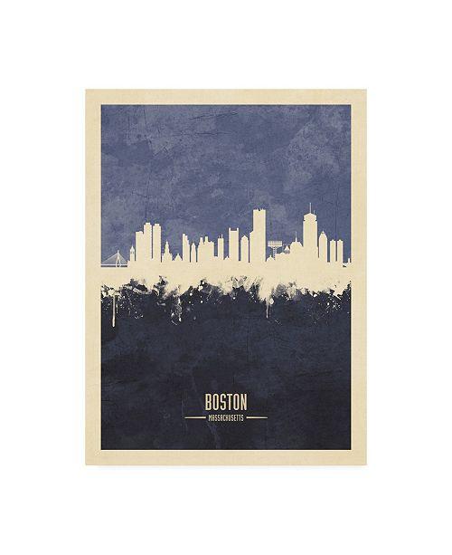 "Trademark Global Michael Tompsett Boston Massachusetts Skyline Navy Canvas Art - 36.5"" x 48"""
