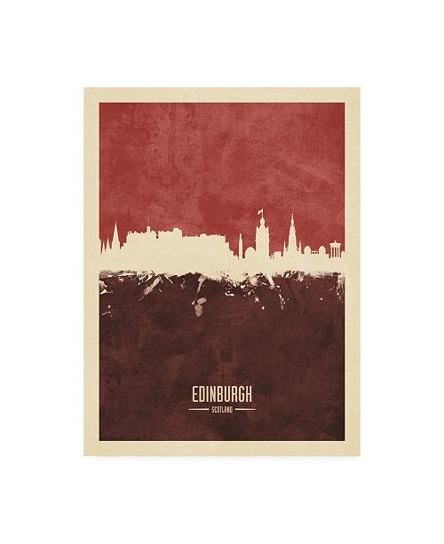 "Trademark Global Michael Tompsett Edinburgh Scotland Skyline Red III Canvas Art - 19.5"" x 26"""