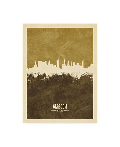 "Trademark Global Michael Tompsett Glasgow Scotland Skyline Brown Canvas Art - 19.5"" x 26"""