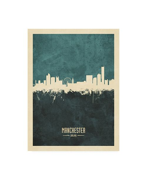 "Trademark Global Michael Tompsett Manchester England Skyline Teal Canvas Art - 36.5"" x 48"""