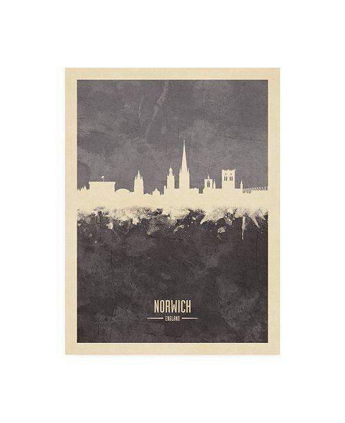 "Trademark Global Michael Tompsett Norwich England Skyline Gray Canvas Art - 19.5"" x 26"""