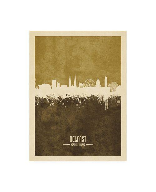 "Trademark Global Michael Tompsett Belfast Northern Ireland Skyline Brown Canvas Art - 36.5"" x 48"""