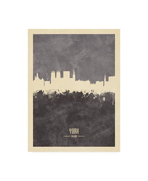 "Trademark Global Michael Tompsett York England Skyline Gray Canvas Art - 19.5"" x 26"""