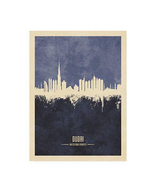 "Trademark Global Michael Tompsett Dubai UAE Skyline Navy Canvas Art - 19.5"" x 26"""