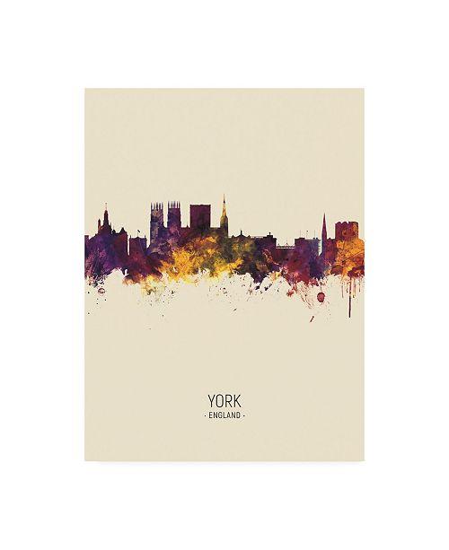"Trademark Global Michael Tompsett York England Skyline Portrait III Canvas Art - 36.5"" x 48"""