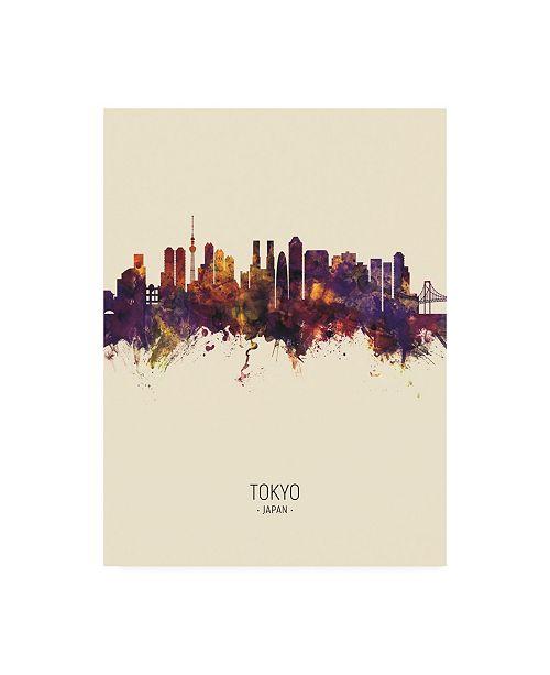 "Trademark Global Michael Tompsett Tokyo Japan Skyline Portrait III Canvas Art - 15.5"" x 21"""