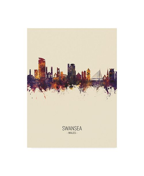 "Trademark Global Michael Tompsett Swansea Wales Skyline Portrait III Canvas Art - 27"" x 33.5"""