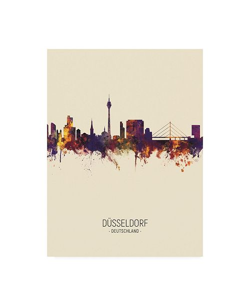"Trademark Global Michael Tompsett Dusseldorf Germany Skyline Portrait III Canvas Art - 27"" x 33.5"""