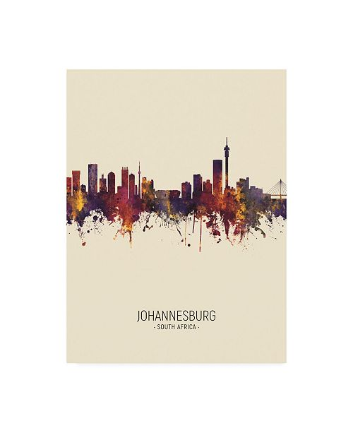 "Trademark Global Michael Tompsett Johannesburg South Africa Skyline Portrait III Canvas Art - 15.5"" x 21"""