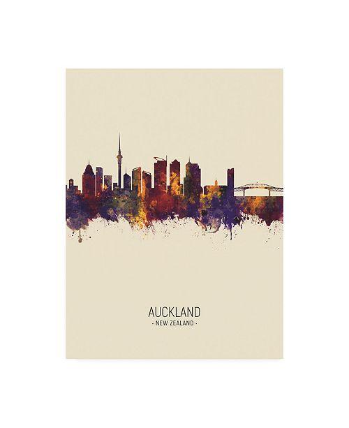 "Trademark Global Michael Tompsett Auckland New Zealand Skyline Portrait III Canvas Art - 15.5"" x 21"""