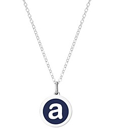 "Mini Initial Pendant Necklace in Sterling Silver Enamel 16"" + 2"" Extender"