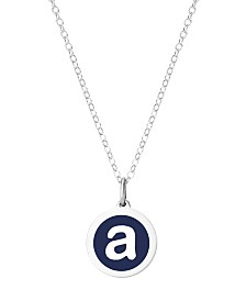 "Auburn Jewelry Mini Initial Pendant Necklace in Sterling Silver and Navy Enamel, 16"" + 2"" Extender"