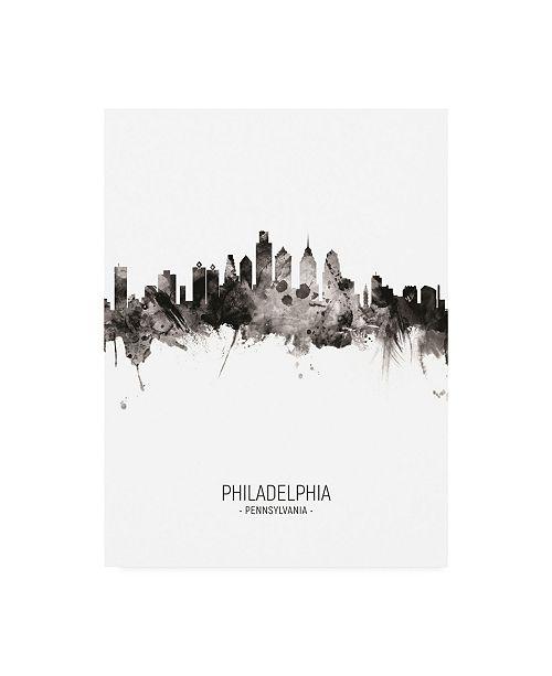 "Trademark Global Michael Tompsett Philadelphia Pennsylvania Skyline Portrait II Canvas Art - 27"" x 33.5"""