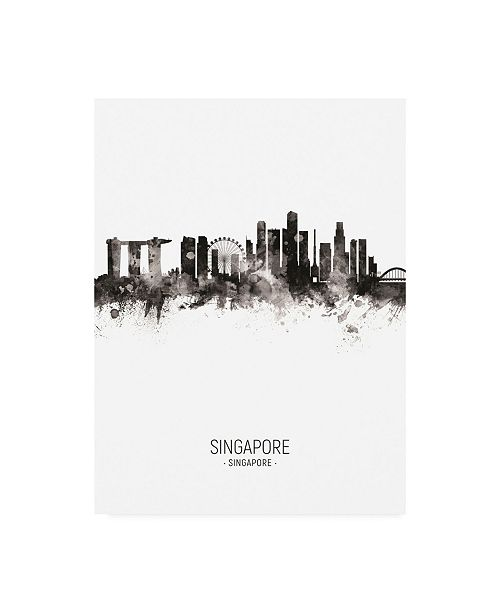 "Trademark Global Michael Tompsett Singapore Skyline Portrait II Canvas Art - 15.5"" x 21"""