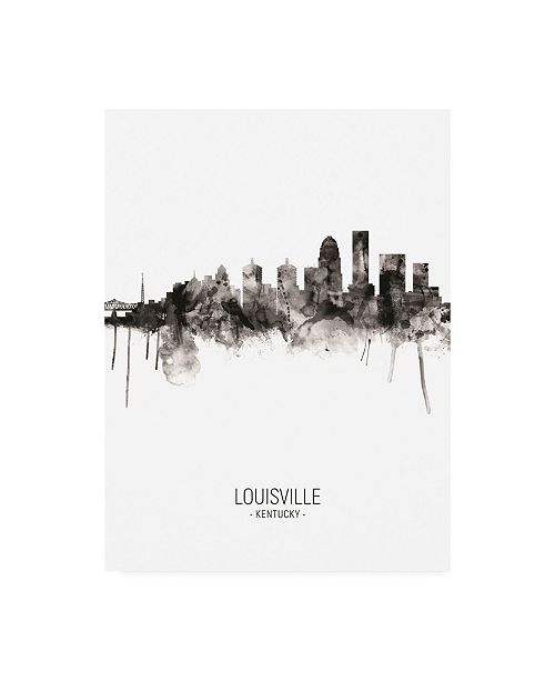 "Trademark Global Michael Tompsett Louisville Kentucky City Skyline Portrait II Canvas Art - 27"" x 33.5"""