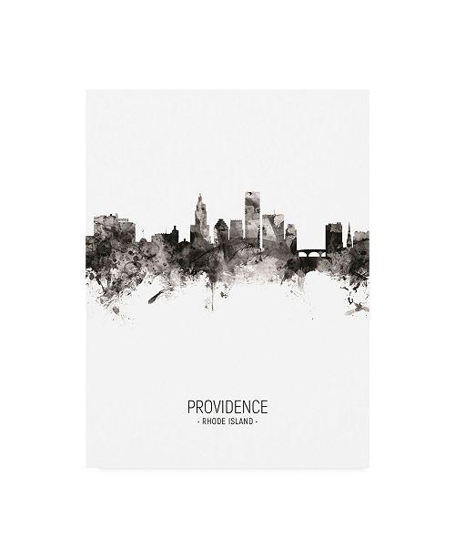 "Trademark Global Michael Tompsett Providence Rhode Island Skyline Portrait II Canvas Art - 15.5"" x 21"""
