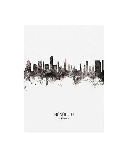 "Trademark Global Michael Tompsett Honolulu Hawaii Skyline Portrait II Canvas Art - 15.5"" x 21"""
