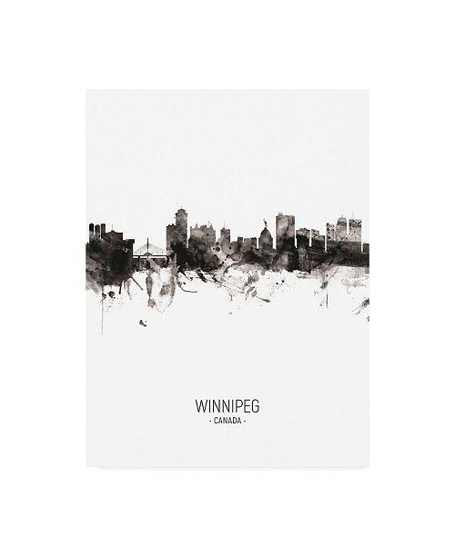 "Trademark Global Michael Tompsett Winnipeg Canada Skyline Portrait II Canvas Art - 19.5"" x 26"""