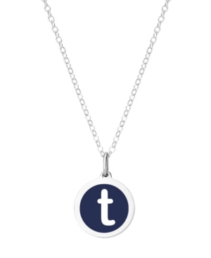Mini Initial Pendant Necklace in Sterling Silver and Navy Enamel