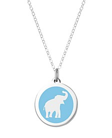 "Elephant Pendant Necklace in Sterling Silver and Enamel, 16"" + 2"" Extender"