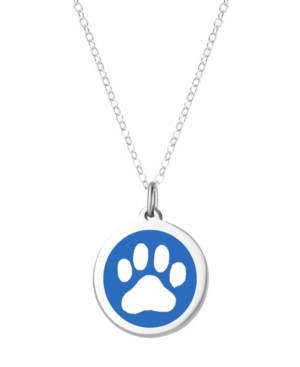 Paw Print Pendant Necklace in Sterling Silver and Enamel