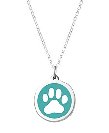 "Paw Print Pendant Necklace in Sterling Silver and Enamel, 16"" + 2"" Extender"